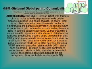 GSM -Sistemul Global pentru Comunicatii