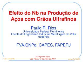 Efeito do Nb na Produção de Aços com Grãos Ultrafinos