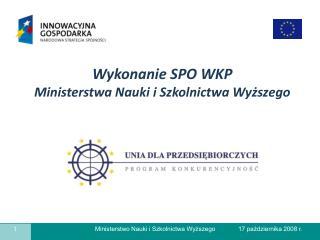 Wykonanie SPO WKP  Ministerstwa Nauki i Szkolnictwa Wyższego
