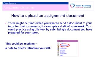 How to upload an assignment document