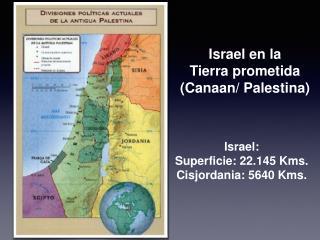 Israel: Superficie: 22.145 Kms. Cisjordania: 5640 Kms.