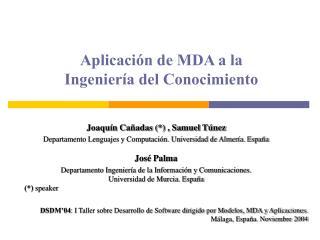 Aplicaci�n de MDA a la  Ingenier�a del Conocimiento