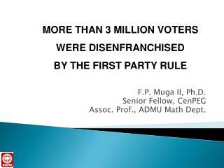 F.P. Muga II, Ph.D. Senior Fellow, CenPEG Assoc. Prof., ADMU Math Dept.