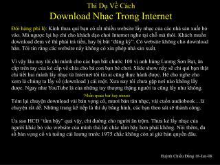Thí Dụ Về Cách  Download Nhạc Trong Internet
