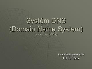 Systém DNS (Domain Name System) (v rámci cvičení VPN)