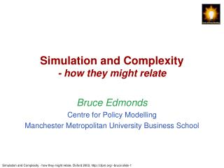 Simulation and Complexity - how they might relate