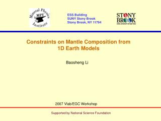 Constraints on Mantle Composition from  1D Earth Models