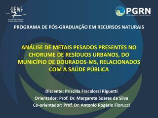Discente: Priscilla  Fracalossi Riguetti Orientador:  Prof. Dr. Margarete Soares da Silva