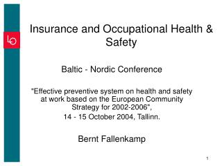 Insurance and Occupational Health & Safety