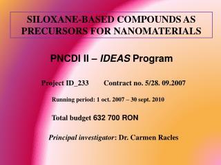 SILOXANE-BASED COMPOUNDS AS PRECURSORS FOR NANOMATERIALS