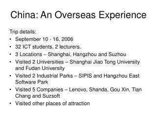 China: An Overseas Experience
