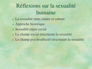 R flexions sur la sexualit  humaine