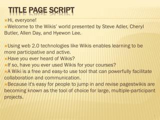 Title page Script