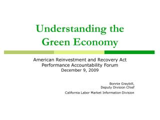 Understanding the     Green Economy