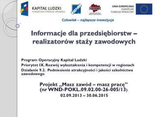 Informacje dla przedsiębiorstw – realizatorów staży zawodowych