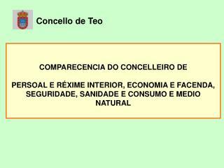 COMPARECENCIA DO CONCELLEIRO DE PERSOAL E RÉXIME INTERIOR, ECONOMIA E FACENDA,