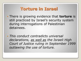 Torture in Israel