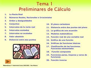 Tema 1 Preliminares de Cálculo