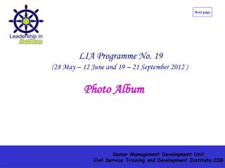 LIA Programme No. 19 (28 May � 12 June and 19 � 21 September 2012 )