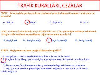 TRAFİK KURALLARI, CEZALAR
