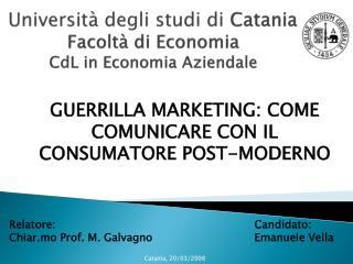Università degli studi di  Catania Facoltà di Economia CdL  in Economia Aziendale