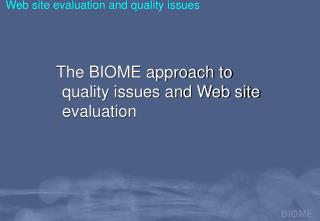 Web site evaluation and quality issues