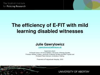 The efficiency of E-FIT with mild learning disabled witnesses