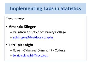 Implementing Labs in Statistics