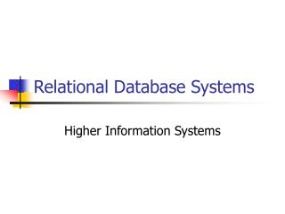 Relational Database Systems