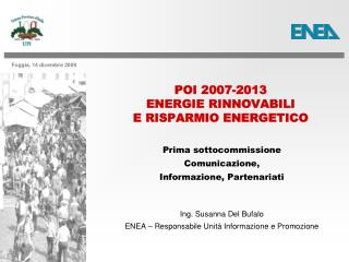 POI 2007-2013  ENERGIE RINNOVABILI  E RISPARMIO ENERGETICO