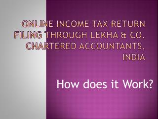 Online Income Tax  RetuRn  Filing through  Lekha  & Co. Chartered Accountants, India
