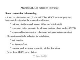 Meeting ALICE radiation tolerance.