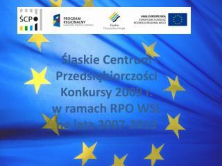Śląskie Centrum Przedsiębiorczości Konkursy 2009 r. w ramach RPO WSL  na lata 2007-2013