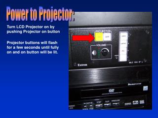 Turn LCD Projector on by pushing Projector on button