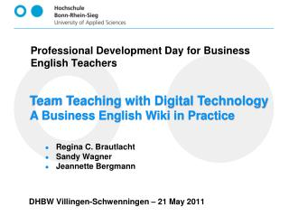 Team Teaching with Digital Technology A Business English Wiki in Practice