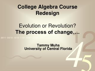 College Algebra Course Redesign  Evolution or Revolution The process of change .