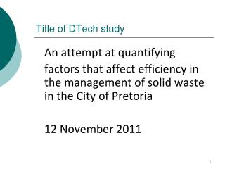 Title of DTech study