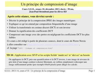 Un principe de compression d'image