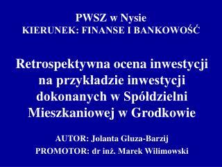 PWSZ w Nysie KIERUNEK: FINANSE I BANKOWOŚĆ