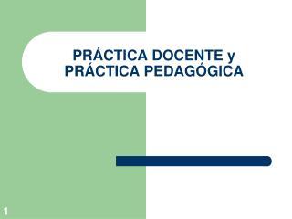 PR CTICA DOCENTE y PR CTICA PEDAG GICA