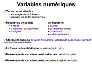 Variables numèriques