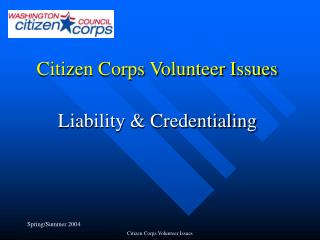Citizen Corps Volunteer Issues