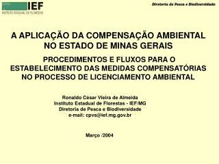 A APLICAÇÃO DA COMPENSAÇÃO AMBIENTAL NO ESTADO DE MINAS GERAIS