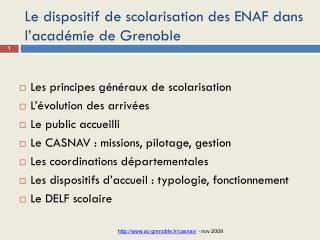Le dispositif de scolarisation des ENAF dans l'académie de Grenoble