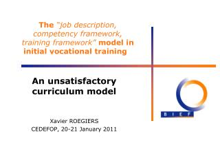 The  job description, competency framework, training framework  model in initial vocational training