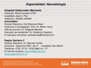Especialidad: Neonatología