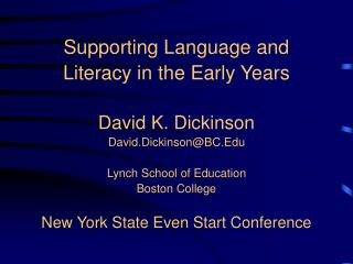 Supporting Language and Literacy in the Early Years