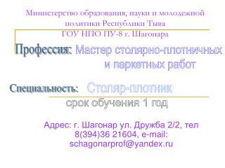 Министерство образования, науки и молодежной политики Республики Тыва ГОУ НПО ПУ-8 г.  Шагонара