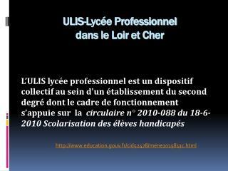 ULIS-Lyc�e Professionnel  dans le Loir et Cher