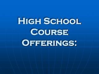 High School Course Offerings: